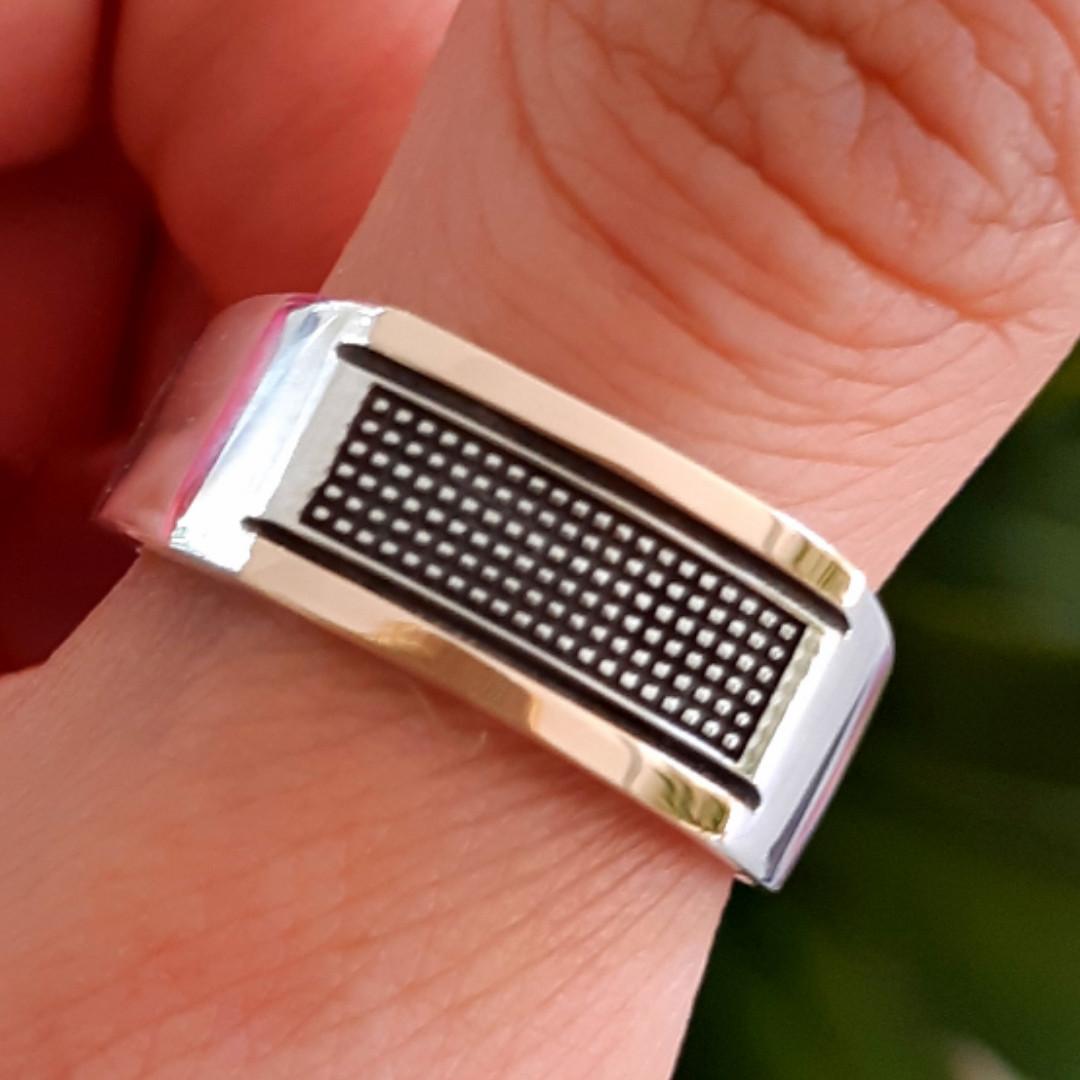 Кольцо мужское серебряное - Мужская печатка серебро 925  и золото