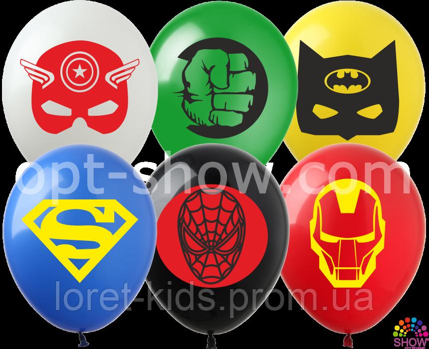 """Воздушные шарики Мультяшки группа-3 для мальчиков Супергерои 12"""" (30 см) ТМ Show"""