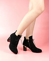 Женские ботинки 615-6254/0 str. MORENTO (черные, нат. замша, байка, весна/осень)