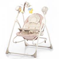 Электронные качели шезлонг для младенцев 3 в 1 CARRELLO Nanny Beige Dot с каруселью и музыкой и пультом