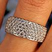 Серебряное родированное кольцо широкая дорожка усыпка россыпь цирконами, фото 3