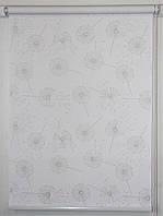 Готовые рулонные шторы 350*1500 Ткань Одуванчики Белый 5428/1