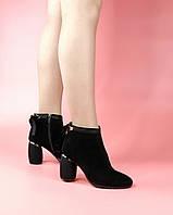 Женские ботинки 1680-878/0 MORENTO (черные, натуральная замша, байка, весна/осень)