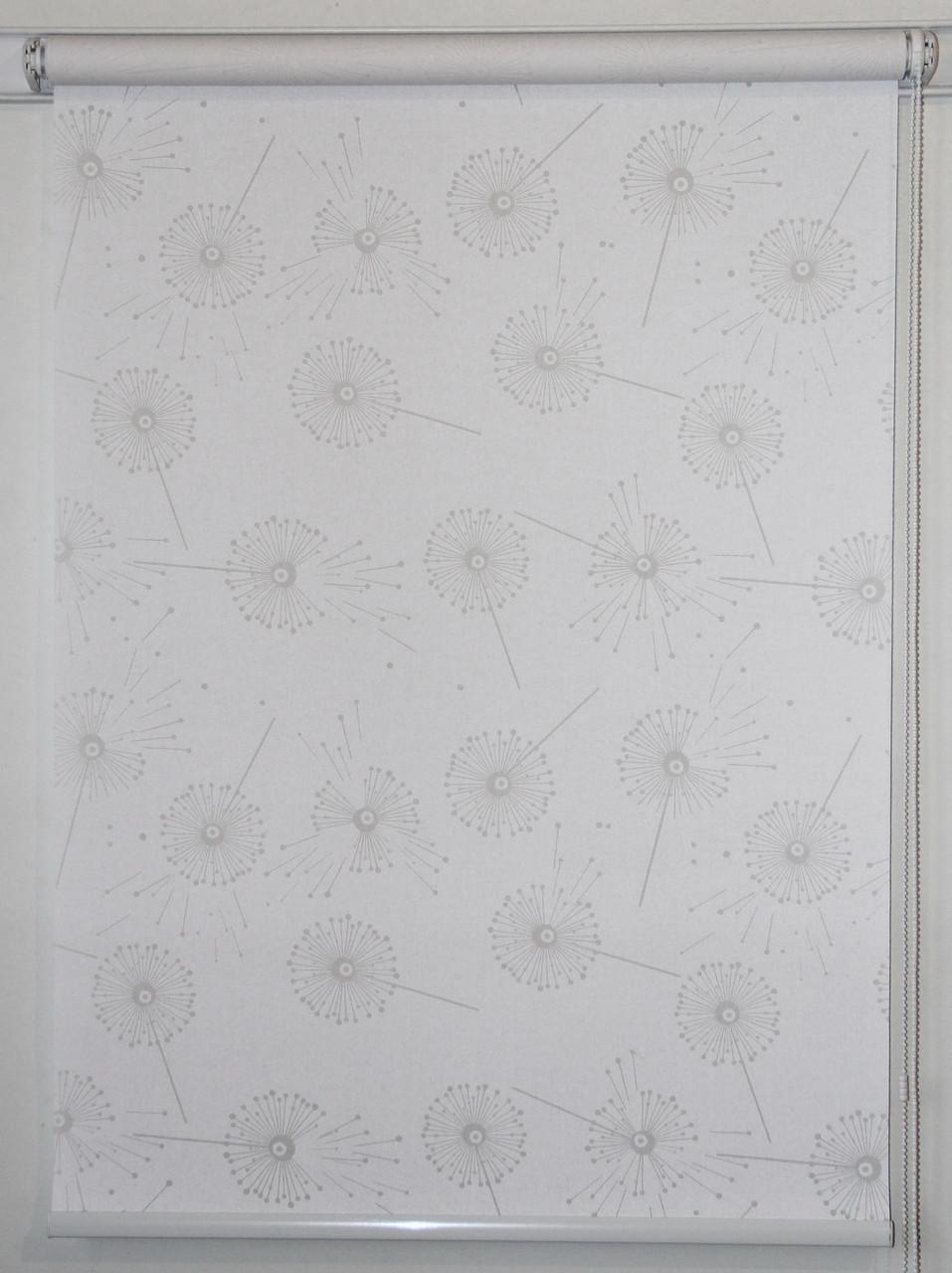 Готовые рулонные шторы 625*1500 Ткань Одуванчики Белый 5428/1