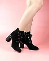 Женские ботинки 1680-8133/0 MORENTO (черные, натуральная замша, байка, весна/осень)