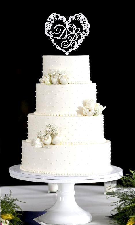 Топпер монограма для торта з ініціалами у формі серця, монограма в блискітках різних кольорів