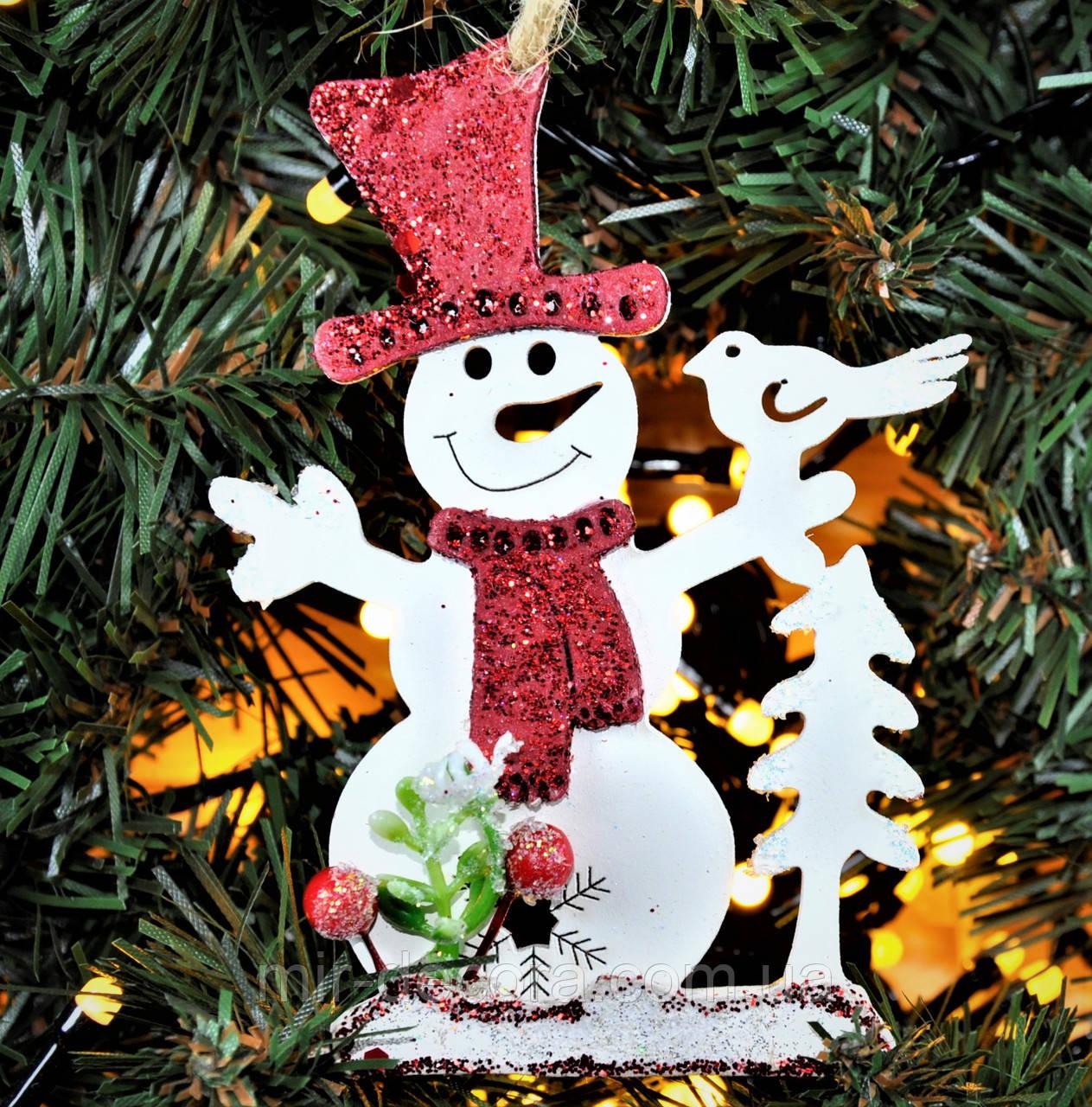"""Деревянная игрушка на елку """"Снеговик"""" высота 12 см"""