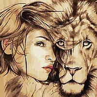 """Картина по номерам """"Девушка и лев"""" 40*40см, фото 1"""
