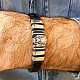 Мужской серебряный браслет с кожей Лев, фото 6