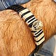Мужской серебряный браслет с кожей Лев, фото 5