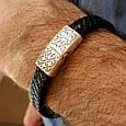 Мужской серебряный браслет с кожей Лев, фото 4