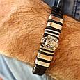 Мужской серебряный браслет с кожей Лев, фото 3