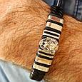 Мужской серебряный браслет с кожей Лев, фото 2