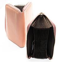 Визитница женская кожаная Dr. Bond WS-8 для 36 карт два отдела для купюр 20*10*3 Розовый