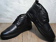 Модные ботинки зимние мужские. Черные зимние ботинки мужские кожаные с мехом Rifellini Rovigo All Black, фото 1
