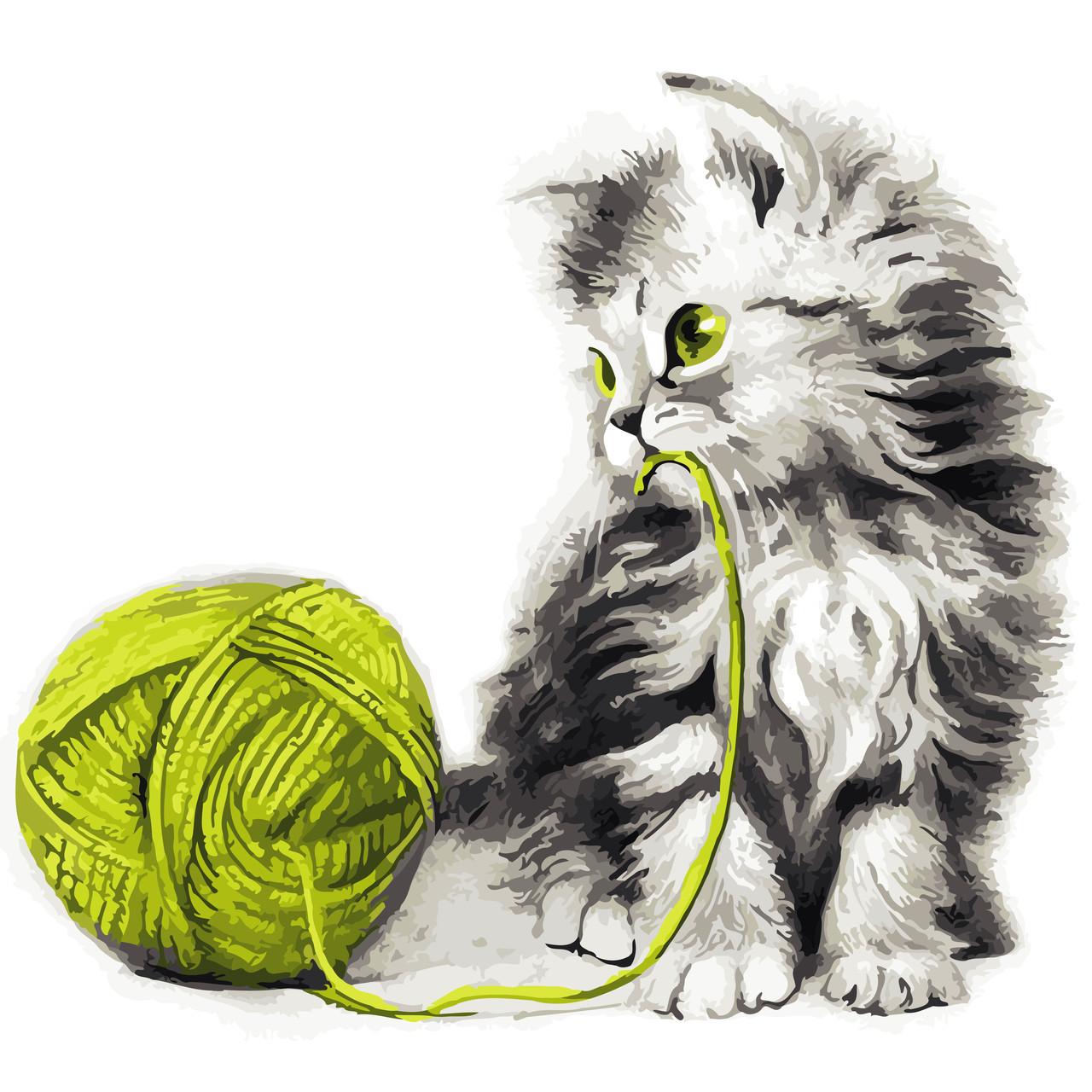 """Картина по номерам """"Котёнок с клубком"""" 40*40см: продажа ..."""