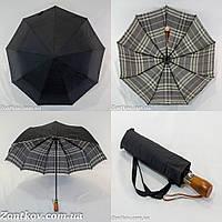 """Черный зонт полуавтомат с двойной тканью и """"Burberry"""" изнутри от фирмы """"Mario""""."""
