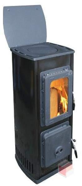 Піч камін тривалого горіння з плитою Thorma MILANO II чорна (буржуйка Торма Мілано)