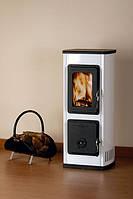 Отопительно варочная печь камин на дровах  MILANO II - белая (  буржуйка, каминофен ).