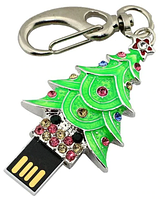 Флешка Новогодняя Ёлочка - Брелок, Ювелирная Флешка со стразами на 8 Гб, оригинальный подарок на Новый Год