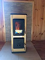 Отопительно варочная печь камин на дровах  MILANO II - бежевая (  изразцовая печка, каминофен ).