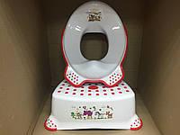 Набор детский для унитаза сиденье-накладка для унитаза и подставка для ног, фото 1