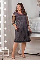 Батальне нарядне плаття з люрексом та сіточкою . Р-ри 52-58, фото 1
