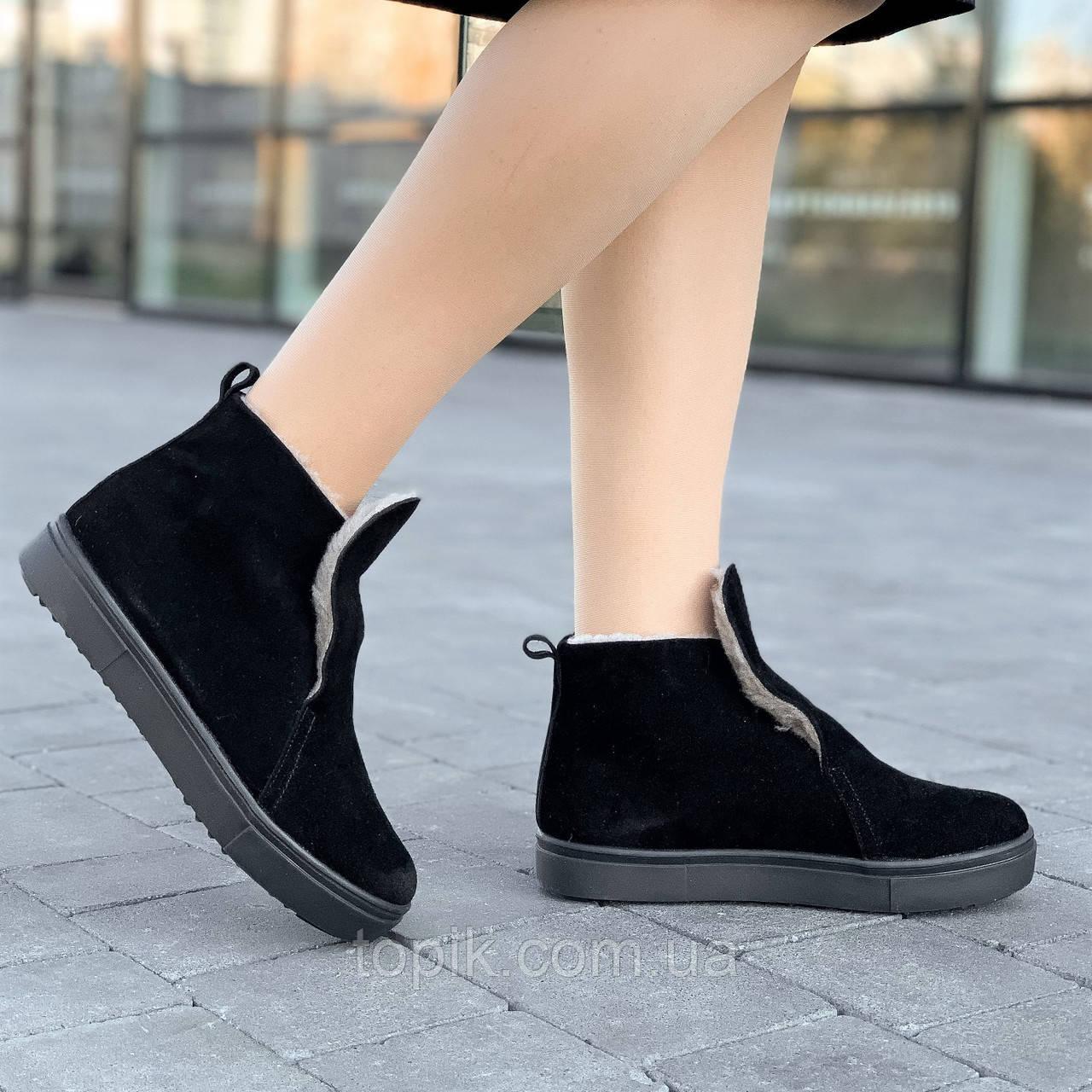 Ботинки женские зимние замшевые черные модные, полуботинки (Код: 1617)
