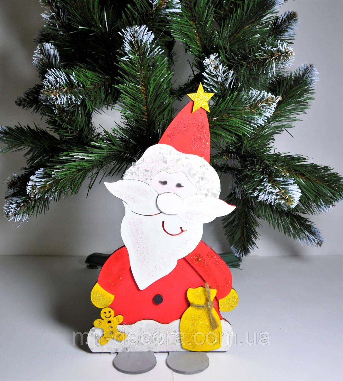 Дед Мороз под елку из дерева, 35см.