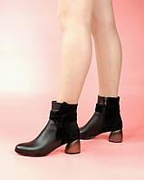 Женские ботинки 1688-64/0 MORENTO (черные, натуральная кожа, натуральная замша, байка, весна/осень)