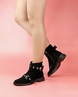 Женские ботинки KA-224/0 MORENTO (черные, нат. замша, байка, весна/осень)