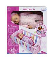"""Пупс с кроваткой-колыбелькой 2 в 1 """"Warm Baby"""" (в розовом)  sct"""