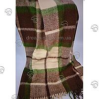 Плед шерстяной 140*205 50% шерсть зелено-коричневый