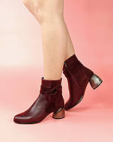 Женские ботинки 1688-64/0 MORENTO (бордовые, натуральная кожа, натуральная замша, байка, весна/осень)