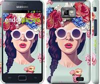 "Чехол на Samsung Galaxy S2 i9100 Девушка с цветами ""2812c-14"""