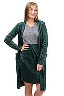 Женский костюм двойка платье с кардиганом цвет бутылочный (зеленый)