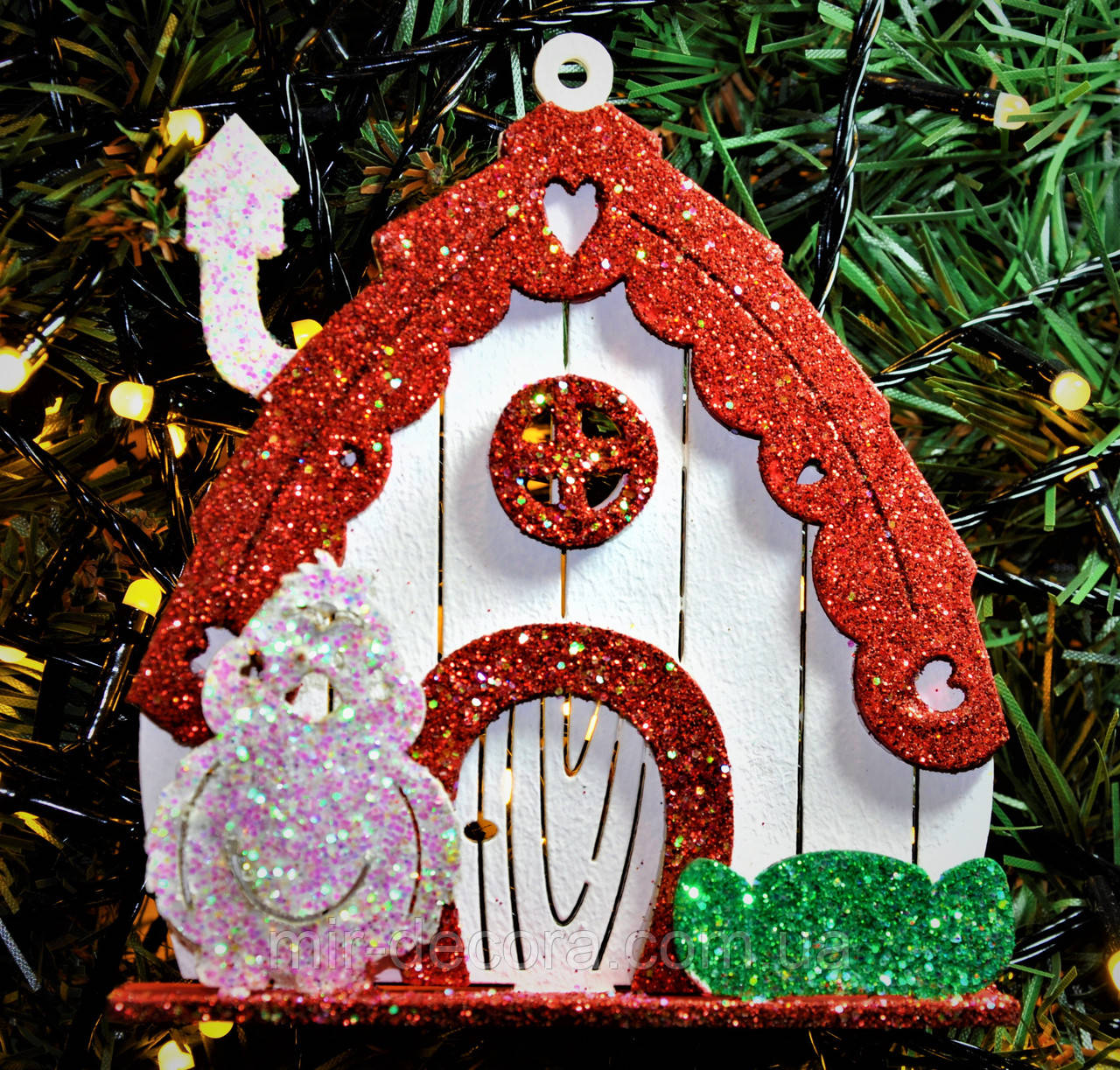"""Новогодняя игрушка на елку """"Сказочный домик 2"""" размер 10/15. Белый."""