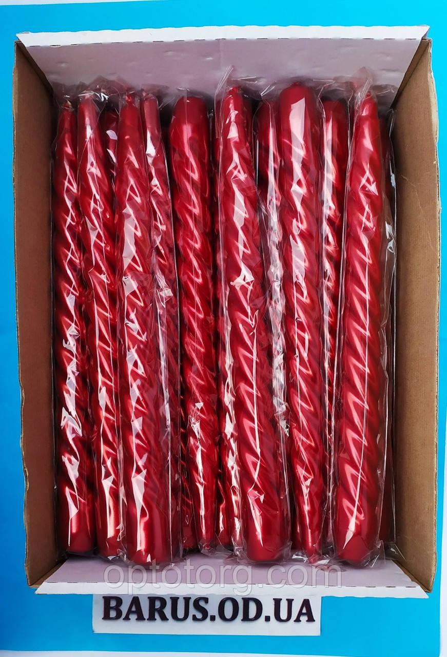 Свечи декоративные перламутр витые красные 25 см 45 штук
