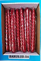 Свечи декоративные перламутр витые красные 25 см 45 штук, фото 1