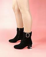 Женские ботинки 0617-5256/0 MORENTO (черные, натуральная замша, байка, весна/осень)
