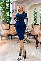 ЖІноче  плаття з баскою  та поясом, 3 кольори. Р-ри  50-56, фото 1