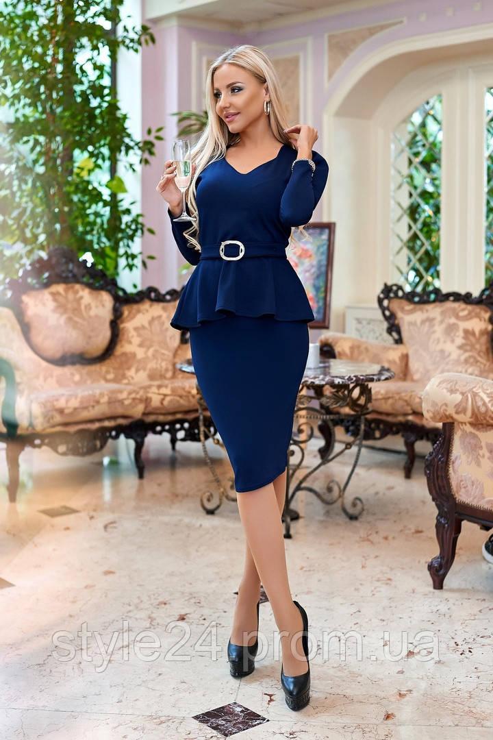 ЖІноче  плаття з баскою  та поясом, 3 кольори. Р-ри  50-56
