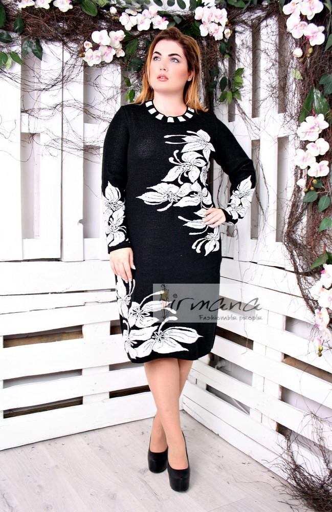 Теплое женское платье для полных Орхидея белая