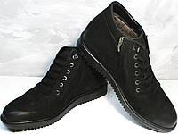 Кожаные ботинки с мехом. Мужские зимние ботинки черные Luciano Bellini WB, фото 1