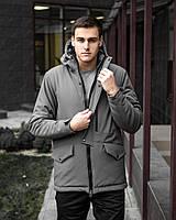 ⭐ Мужская зимняя серая куртка Парка Soft Shell Pobedov