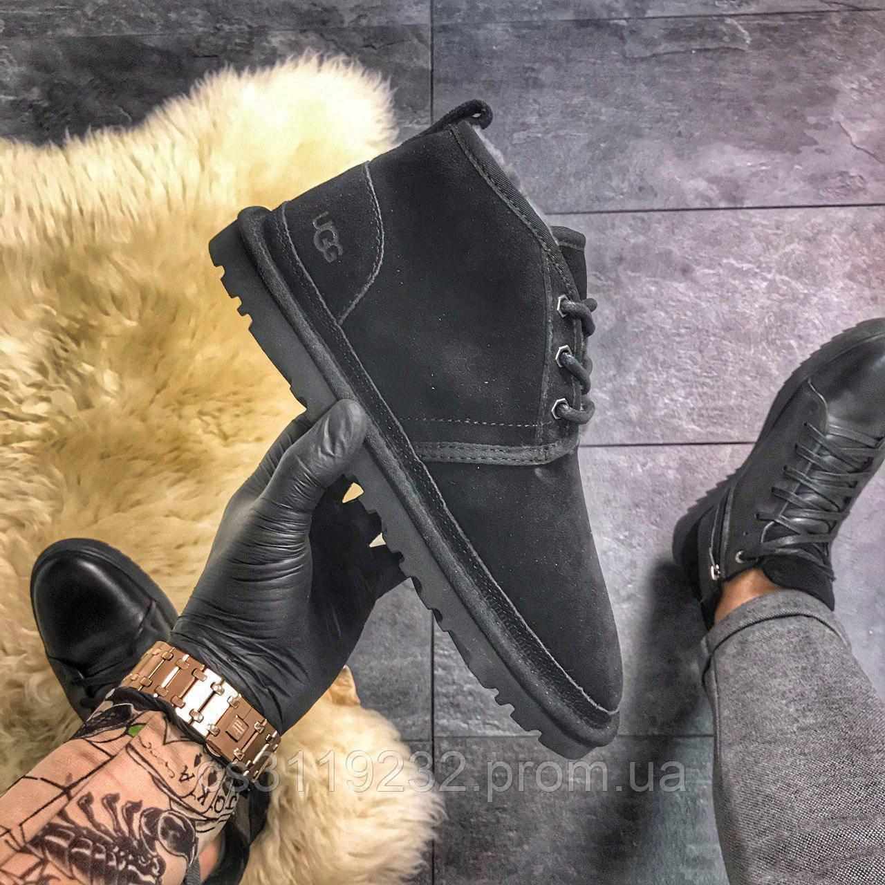 Чоловічі черевики зимові UGG Classic Short (хутро) (чорний)
