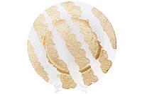 Сервировочная тарелка стеклянная, цвет - прозрачный с золотом, 33см, фото 1
