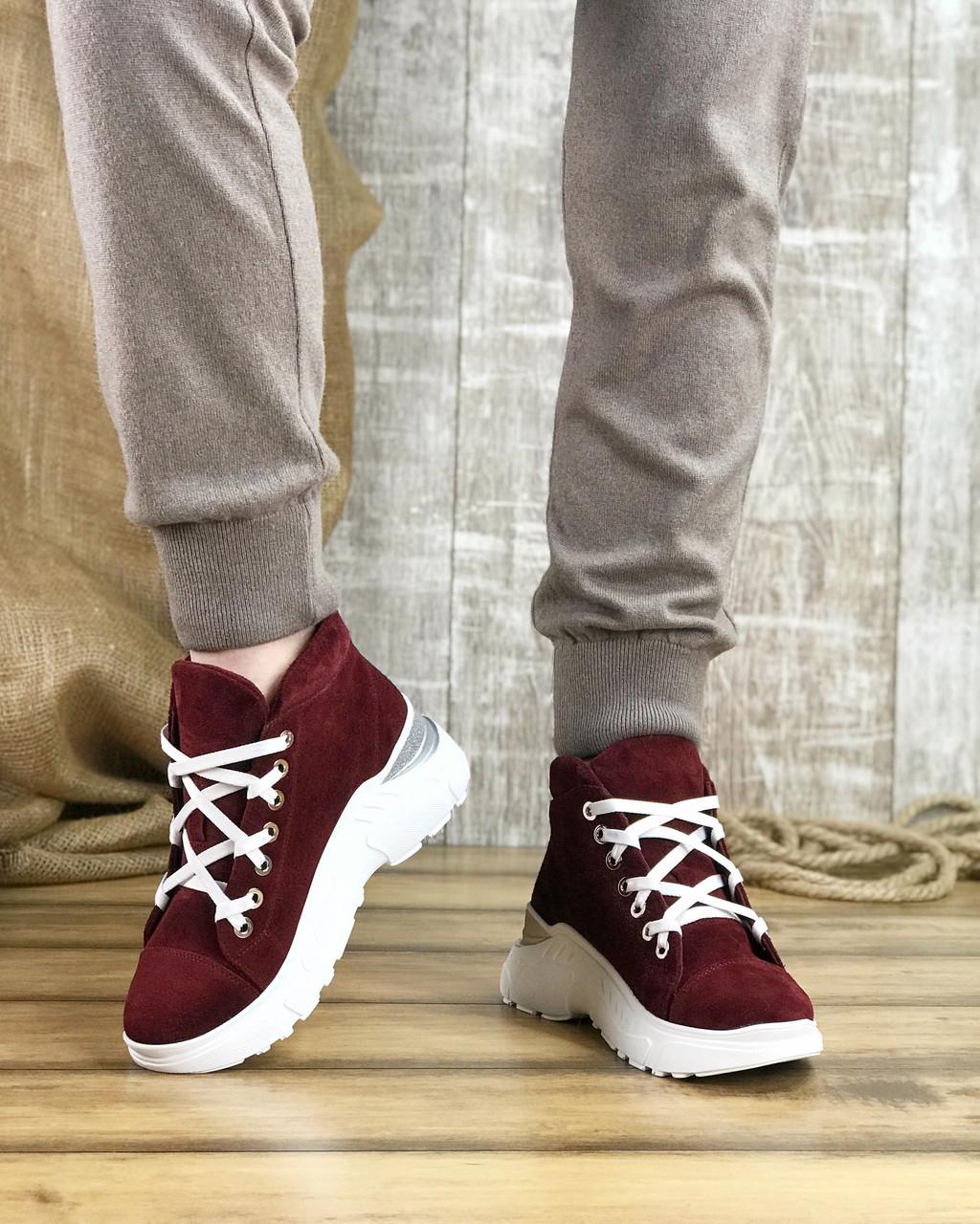 Ботинки женские замшевые бордовые спортивные на шнурках MORENTO (зима)