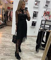 Платье черного цвета в сетку 42-44; 46-48 р.