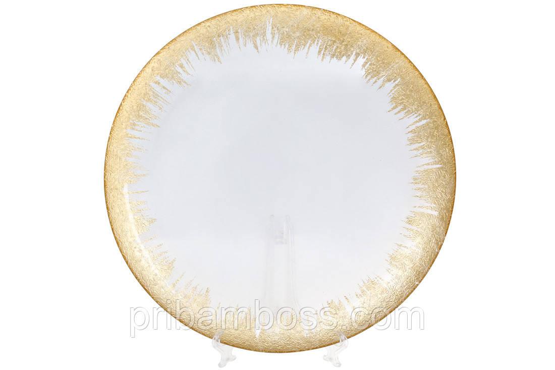 Сервировочная тарелка стеклянная, цвет - прозрачный с золотом, 33см